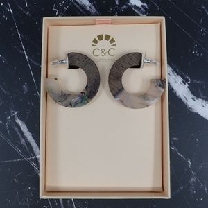 C&C California Wood/Acrylic Earrings - NIB